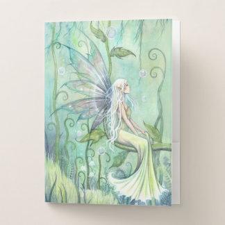 ポケットが付いている黙想の緑の庭の妖精のフォルダー ポケットフォルダー