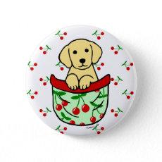 ポケットのイエロー・ラブラドール・レトリーバーの子犬 缶バッジピンバック