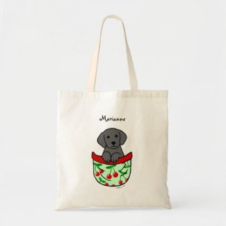 ポケットのパーソナライズされたで黒い実験室の子犬 キャンバス地バッグ