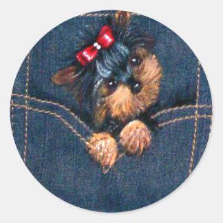 ポケットのヨークシャーテリアの子犬 ラウンドシール
