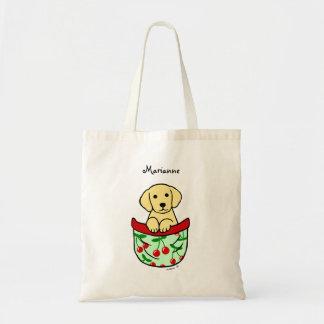 ポケットの名前入りなイエロー・ラブラドール・レトリーバーの子犬 トートバッグ
