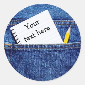 """ポケットの""""ここのあなたの文字""""のノート ラウンドシール"""