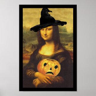 ポスターおもしろいのルネサンスのモナ・リザハロウィンの魔法使い ポスター