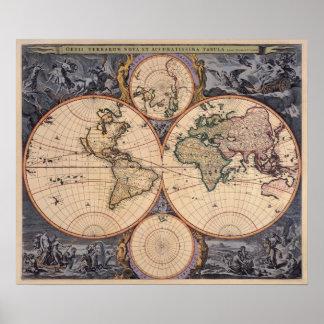 ポスターのための旧世界の地図の旧式な地図 ポスター