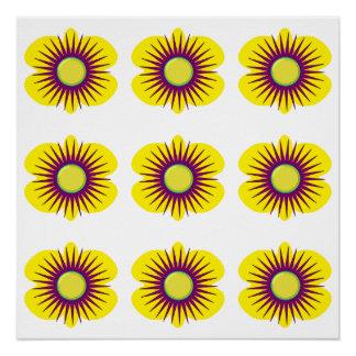 ポスターのパターンの春の黄色及び紫色の花 ポスター