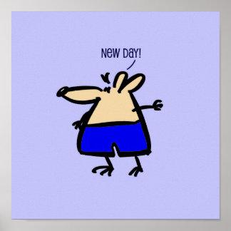 ポスターの青の新しい日の漫画のマウス ポスター