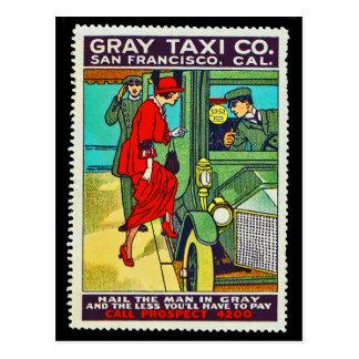 ポスタースタンプの郵便はがきの灰色のタクシーCo. SF ポストカード