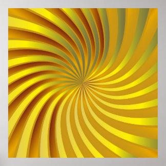 ポスターピンクの金ゴールドの渦 ポスター