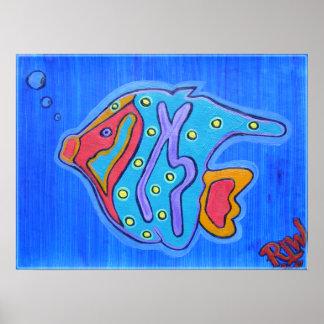 ポスタープリント鮮やかな熱帯魚 プリント