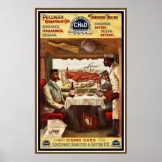 ポスターヴィンテージのプルマン式車両の列車の食堂車 ポスター