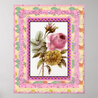 ポスターヴィンテージの芸術によってはフレームとのピンクが開花します ポスター