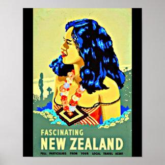 ポスターヴィンテージ旅行芸術新しいジーランド島 ポスター