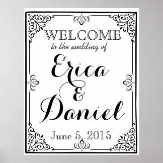 ポスター印の黒板の結婚式への歓迎 ポスター