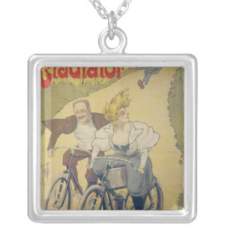 ポスター広告の剣闘士の自転車 シルバープレートネックレス