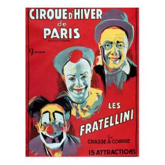 ポスター広告Cirqueの「d'Hiver deパリ 葉書き