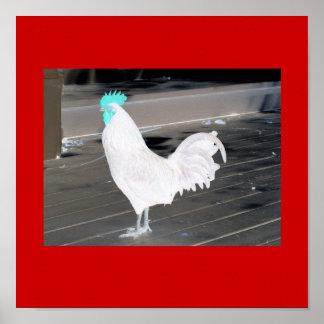 ポスター抽象的で白いオンドリ、赤の青い櫛 ポスター