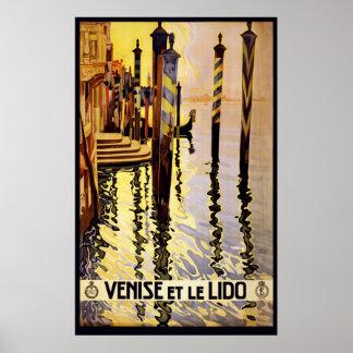ポスター旅行ベニスのゴンドラのヴィンテージLido Venezia ポスター