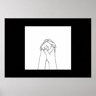 ポスター白黒把握手 プリント