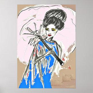 ポスター着物の服のファッションのイラストレーション ポスター