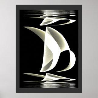 ポスター黒く及び白いスタイルの反射2 ポスター