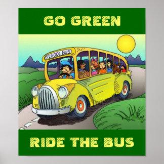 ポスター~の環境にやさしいことをしようの乗車スクールバスの乗車の共有 ポスター