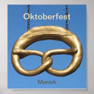 ポスター: オクトーバーフェストのプレッツェルの印ミュンヘン ポスター
