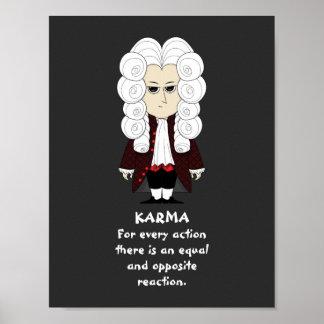 ポスター。 カルマ及びニュートンの第3法律(暗い背景) ポスター