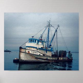 ポスター-モンテレー湾の漁船San Giovanni ポスター