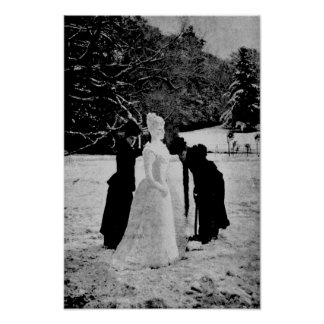 ポスター-ヴィンテージ-雪の女性 ポスター