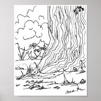 ポスター-木の下の小石 ポスター