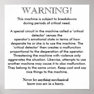 ポスター-機械故障の警告 ポスター