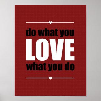 ポスター-赤--をすることを愛するものして下さい ポスター