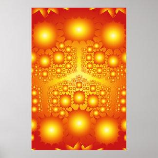 ポスター: 金ゴールドのフラクタルの日が差すこと: ベクトルアートワーク ポスター