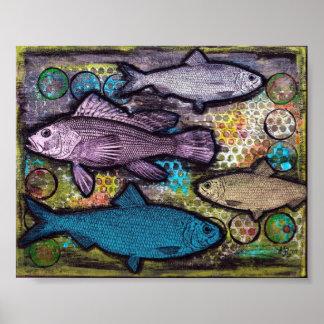 ポスター、魚の芸術、グランジな魚の抽象芸術の混合メディア ポスター