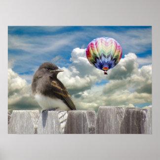 ポスター-鳥および熱気の気球 ポスター