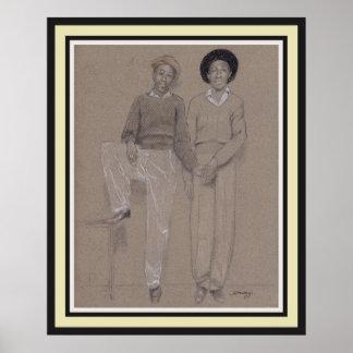 ポスター、40年代からの2人の黒人男性の元の芸術 ポスター