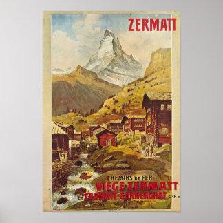 ポスターZermatt Schweizスイス連邦共和国Gornergratbahn ポスター