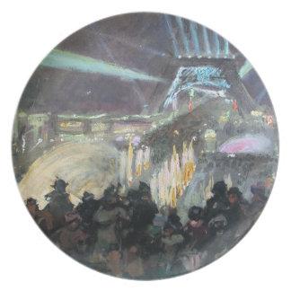 ポストの印象主義のパリエッフェル塔の絵画 プレート