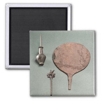 ポットが付いている銅のヘアピン、洗眼薬の棒および鏡、 マグネット