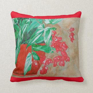 ポットの水彩画の赤いベゴニア クッション