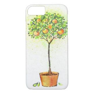 ポットの色彩の鮮やかな水彩画の柑橘類の木 iPhone 8/7ケース