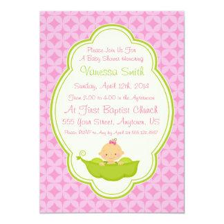 ポッドのベビーシャワーの招待状のピンク及びグリーンピース カード