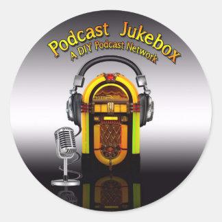 ポッドキャストのジュークボックスのロゴのステッカー ラウンドシール