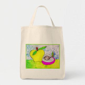 ポップアートのりんごのキャンバスのトート トートバッグ