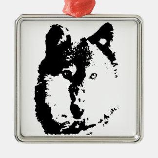 ポップアートのオオカミ メタルオーナメント