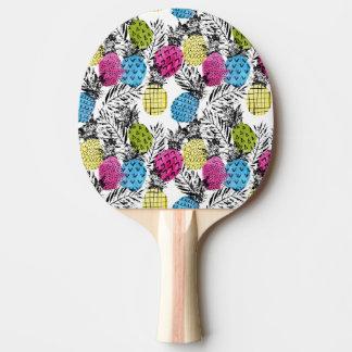 ポップアートのパイナップルおよびシュロの葉 卓球ラケット
