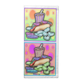ポップアートのホットドッグ ナプキンクロス