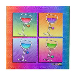 ポップアートのワインのコースターのタイル タイル