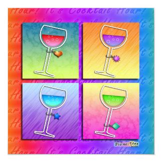 ポップアートのワインの招待状 カード