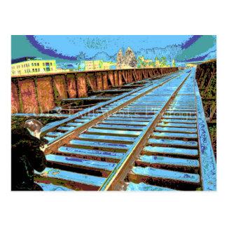 ポップアートの列車トラック ポストカード